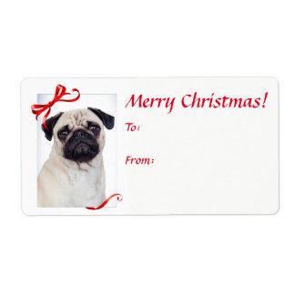 Etiquetas do presente do Natal do Pug