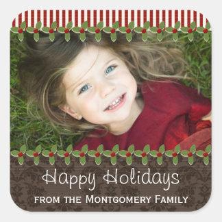 Etiquetas do presente do presente da foto do Natal Adesivo Quadrado