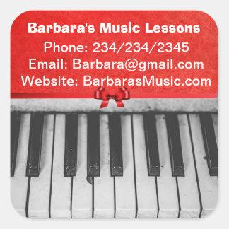 Etiquetas do promocional das lições de piano