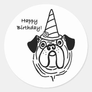 Etiquetas do Pug do feliz aniversario Adesivo Em Formato Redondo