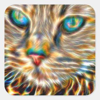 Etiquetas do quadrado da arte do gato - lustrosas