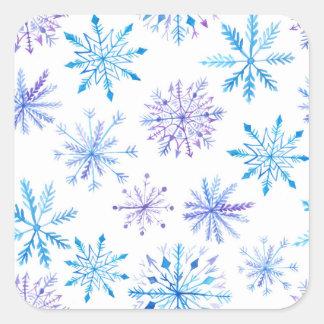 Etiquetas do quadrado do floco de neve da aguarela