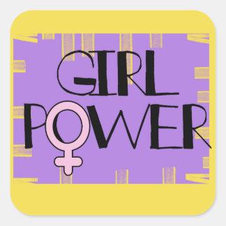 Etiquetas do quadrado do poder da menina