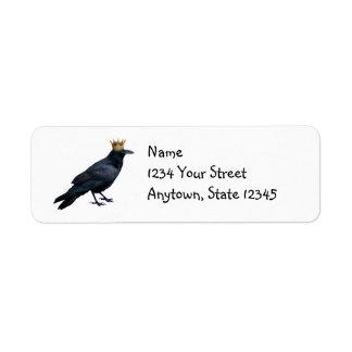 Etiquetas do rei endereço do remetente do corvo