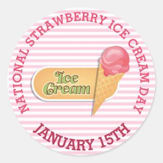 Etiquetas do rosa do cone do sorvete da morango