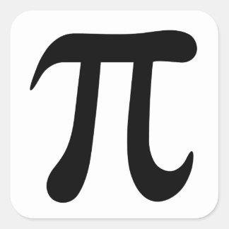 Etiquetas do símbolo do Pi, preto e branco Adesivo Quadrado