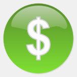 etiquetas do sinal de dólar adesivo em formato redondo