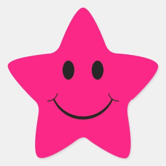 Etiquetas do smiley face da estrela do rosa quente
