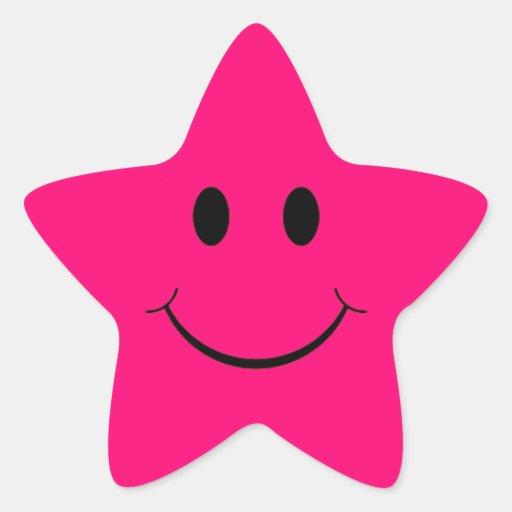 Etiquetas do smiley face da estrela do rosa quente adesivos em forma de estrelas