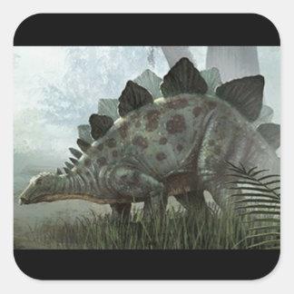 etiquetas do stegosaurus adesivo quadrado