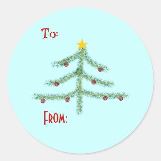 Etiquetas do Tag do presente do espírito do Natal Adesivo Em Formato Redondo