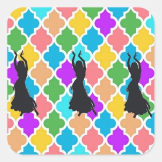 Etiquetas do trio do dançarino de barriga adesivo quadrado