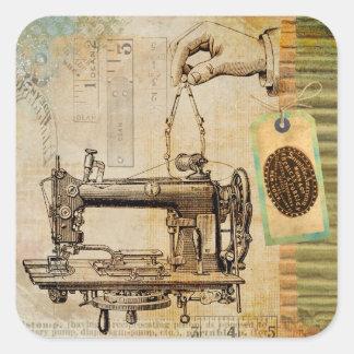 Etiquetas do Victorian da máquina de costura de Adesivo Quadrado
