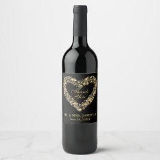 Etiquetas do vinho do coração do ouro do casamento