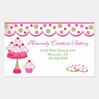 Etiquetas doces da padaria do cupcake adesivo retangular