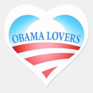 Etiquetas dos amantes de Obama Adesivos De Corações