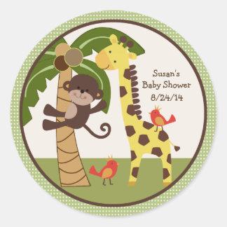 Etiquetas dos amigos animais da selva chapéus de adesivos redondos
