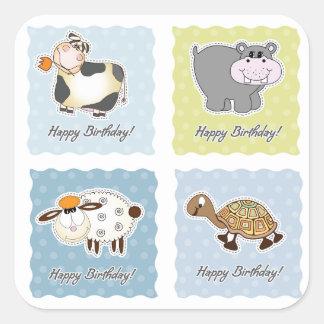 Etiquetas dos animais do feliz aniversario