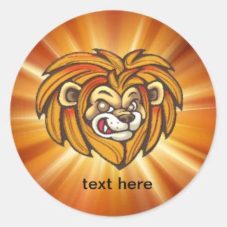 Etiquetas dos animais selvagens da cara do leão