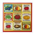 Etiquetas dos bens enlatados da cozinha do vintage azulejo quadrado pequeno
