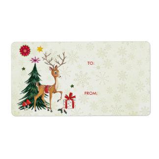 Etiquetas dos cervos do Feliz Natal & do presente