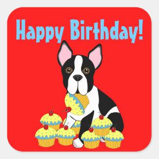 Etiquetas dos cupcakes de Boston Terrier do feliz