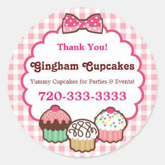 Etiquetas dos cupcakes do guingão adesivo
