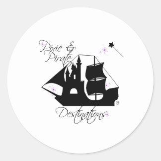 Etiquetas dos destinos do duende e do pirata
