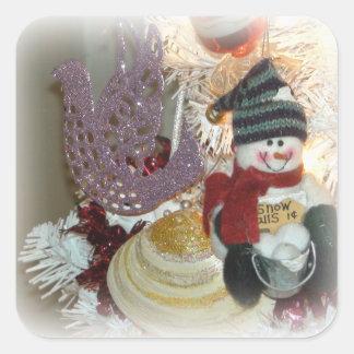 Etiquetas dos enfeites de natal do boneco de neve adesivo quadrado