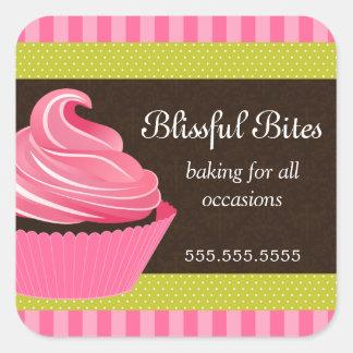 Etiquetas elegantes da padaria do cupcake adesivo quadrado