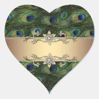 Etiquetas elegantes esmeraldas do pavão do ouro adesivo coração