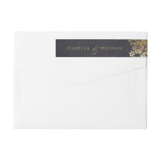 Etiquetas Endereço do remetente elegante preto do casamento