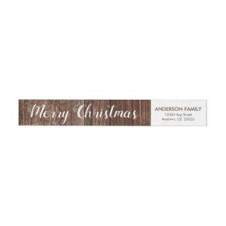 Etiquetas Endereço do remetente rústico do Feliz Natal da