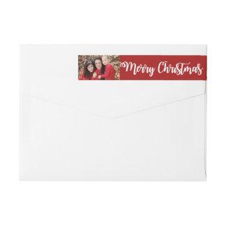 Etiquetas Envoltório branco vermelho da foto do Feliz Natal