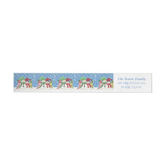 Etiquetas Envoltório da família dos bonecos de neve em torno