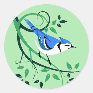 Etiquetas estilizados do pássaro do Bluejay