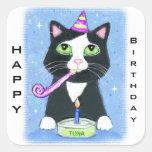 Etiquetas feitas sob encomenda do feliz aniversari adesivo quadrado