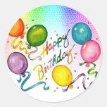 Etiquetas felizes da festa de aniversário adesivos em formato redondos
