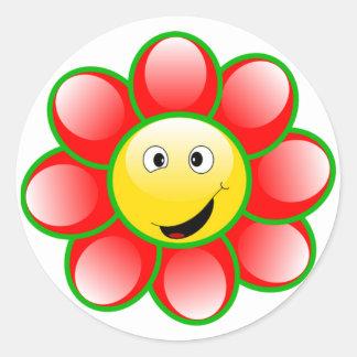 Etiquetas felizes da flor da cara adesivo redondo