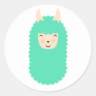 Etiquetas felizes de Emoji do lama