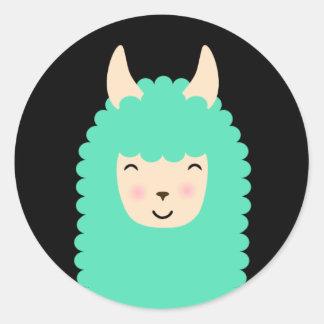 Etiquetas felizes de Emoji do lama Adesivo