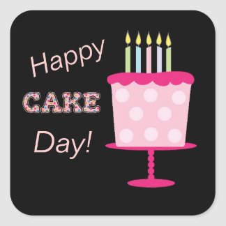 Etiquetas felizes do aniversário do dia do bolo adesivo quadrado
