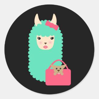 Etiquetas femininos de Emoji do lama (com filhote