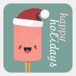 Etiquetas festivas do Lolly de gelo de Kawaii boas Adesivo Quadrado