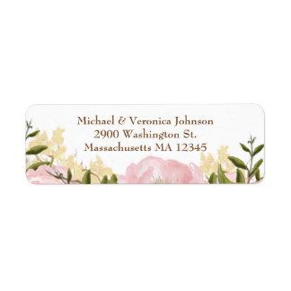 Etiquetas florais cor-de-rosa