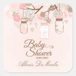 Etiquetas florais cor-de-rosa chiques do chá de adesivos quadrados