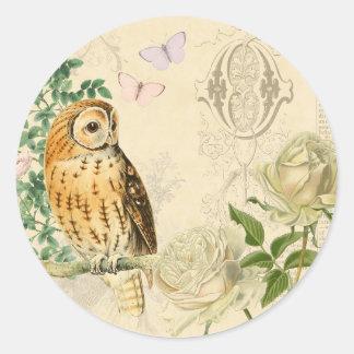 Etiquetas florais da coruja do vintage com rosas adesivo