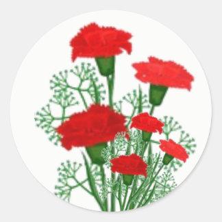 Etiquetas florais do buquê vermelho dos cravos