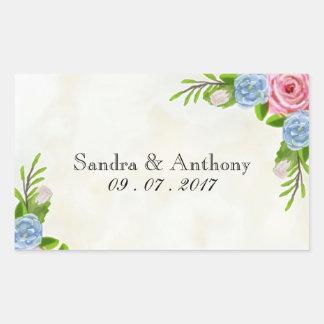 Etiquetas florais do casamento da aguarela