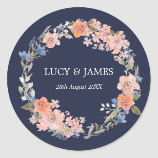 Etiquetas florais do casamento da grinalda da